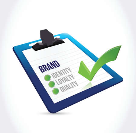 perceive: brand selection on a clipboard illustration design over a white background Illustration