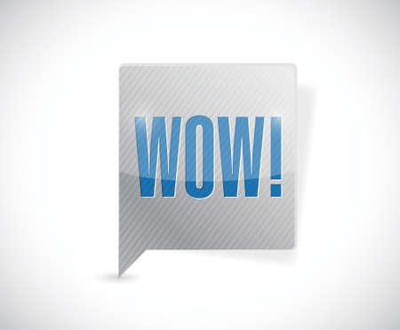 изумление: вау сообщение пузырь иллюстрации дизайн на белом фоне Иллюстрация