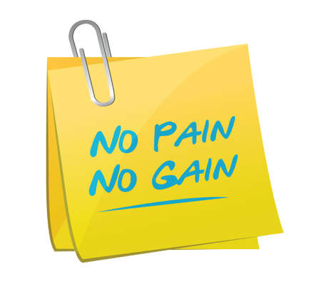 no pain, no gain memo illustration design over a white background 向量圖像