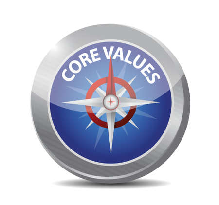 core values compass illustration design over a white background