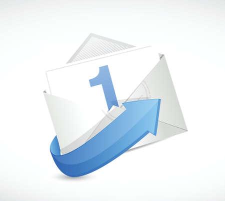 number one inside an envelope illustration design over a white background