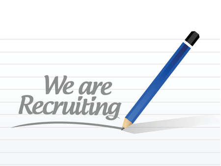 recruiting: we are recruiting memo message illustration design over a white background