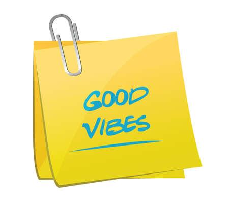 good vibes memo illustration design over a white background Vector