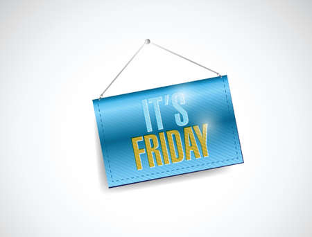 its friday hanging banner illustration design over a white background Vectores