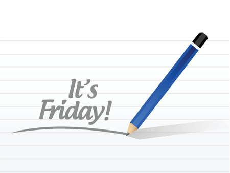 week end: su dise�o Viernes mensaje de ilustraci�n sobre un fondo blanco