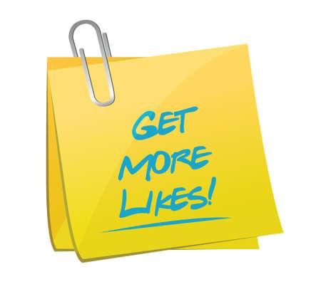 linkedin: get more likes post memo illustration design over a white background