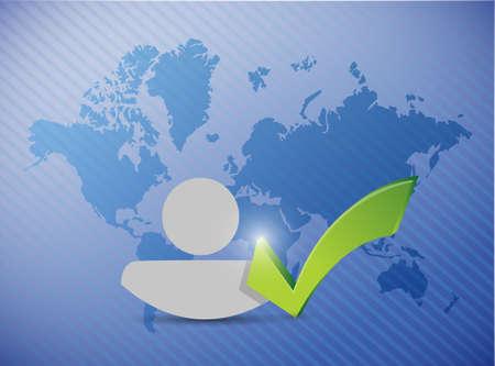 linkedin: world map avatar check mark illustration design over a blue background Stock Photo
