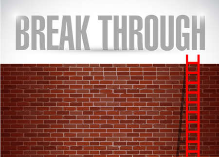 willing: break through brick wall illustration design over a white background Stock Photo