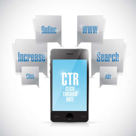 advertiser: click through rate phone concept illustration design over a white background