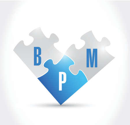 bpm: bpm puzzle pieces illustration design over a white background