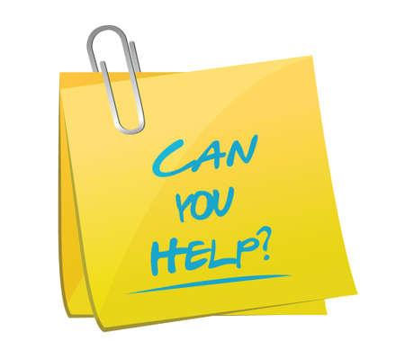 you can: puede usted ayudar a memo mensaje, ilustración, diseño sobre un fondo blanco Vectores
