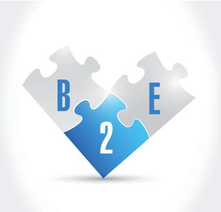 b2e puzzle pieces illustration design over a white background