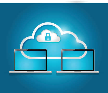 computer network: laptops cloud and lock illustration design over a blue background