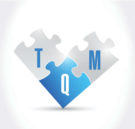 total quality management puzzle pieces illustration design over a white background Vector