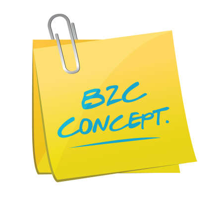 b2c: b2c concept post illustration design over a white background