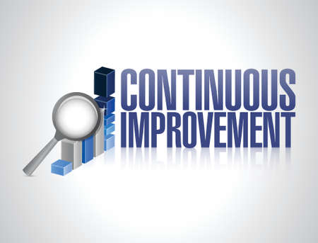 business graphics: continuous improvement business graph illustration design over a white background