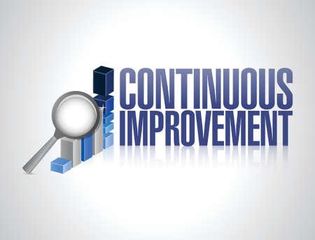 kontinuierliche Verbesserung Business-Grafik, Illustration, Design über einem weißen Hintergrund