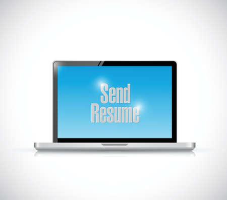 send resume computer message illustration design over a white background Vector