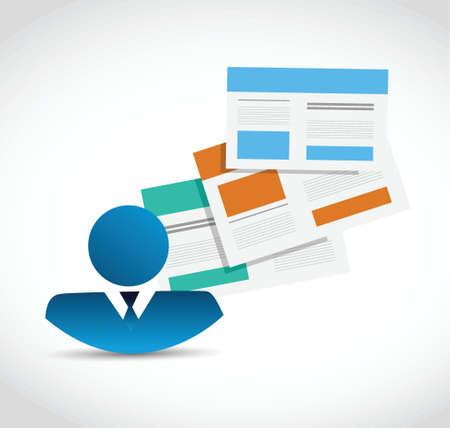 avatar business web site template technology illustration design over a white background Illustration