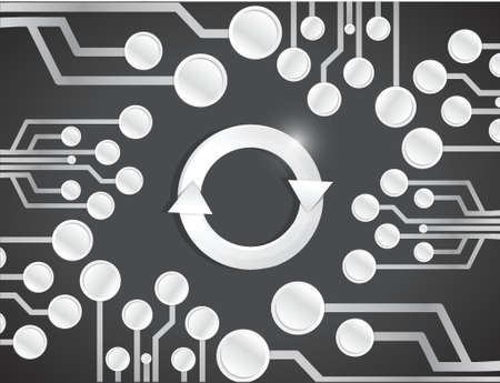 retry: circuit board cycle illustration design over a black background Illustration