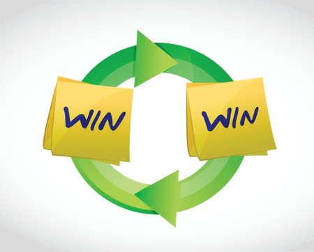 compromise: ganar ciclo victoria ilustraci�n dise�o sobre un fondo blanco Vectores