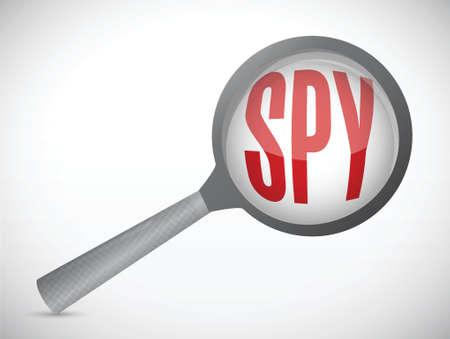 spion vergroot illustratie ontwerp op een witte achtergrond