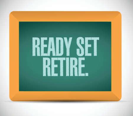 prendre sa retraite: ensemble pr�t retraite conception message d'illustration sur un fond blanc