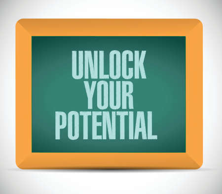 unlock your potential message illustration design over a white background