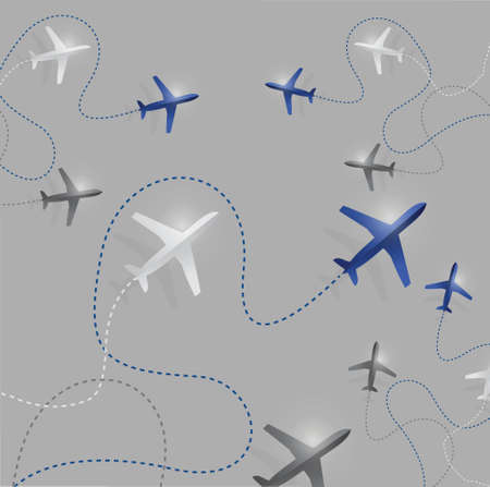airplane route destinations illustration design over a grey background