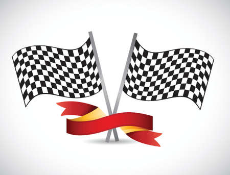 checker flag: checker flag and red ribbon illustration design over a white background