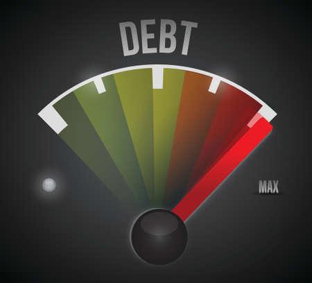 rating meter: debt speedometer illustration design over a black background