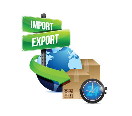 overnight delivery: import and export globe and box and watch illustration design over a white background