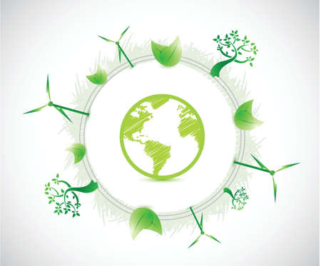 bio fuel: globe and eco illustration illustration design over a white background Illustration