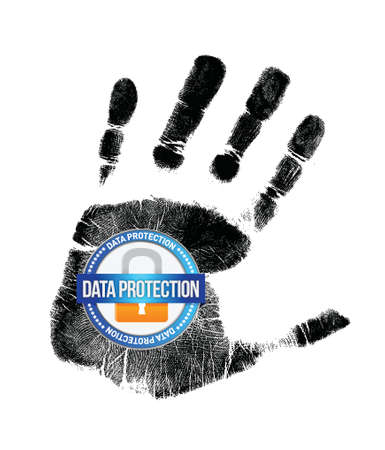 data protection and handprint illustration design over a white background Vector