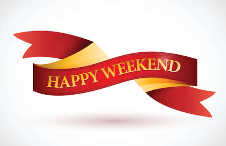 felicitous: happy weekend red ribbon illustration design over a white background Illustration