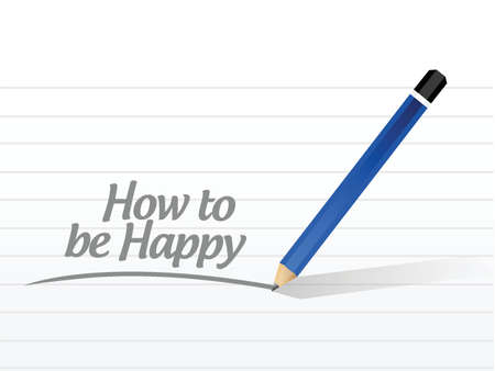 contentment: how to be happy message illustration design over a white background