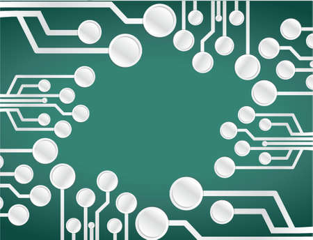 circuit board illustration design over a green background Vector