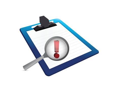 uitroepteken en klembord illustratie ontwerp op een witte achtergrond Stock Illustratie