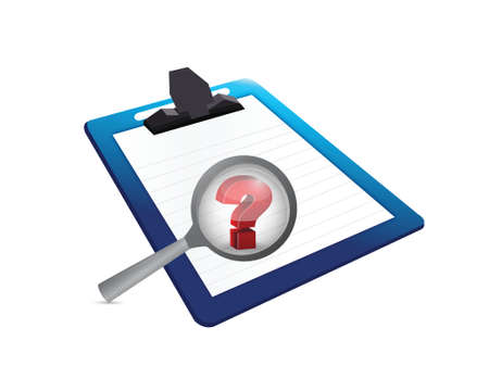 question mark search and clipboard. illustration design over a white background