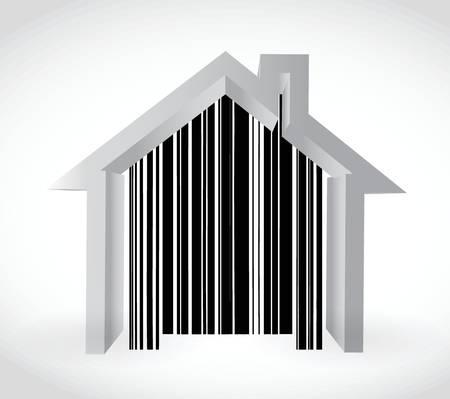 白色の背景上のバーコード ホーム イラスト デザイン