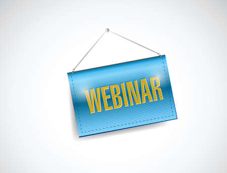 workshop seminar: webinar hanging banner illustration design over a white background