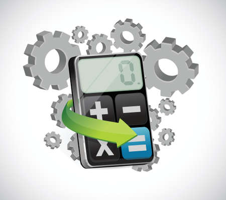 turning gears and calculator illustration design over a white background