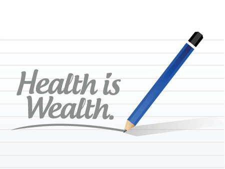 健康は富メッセージ イラスト デザイン、白い背景の上