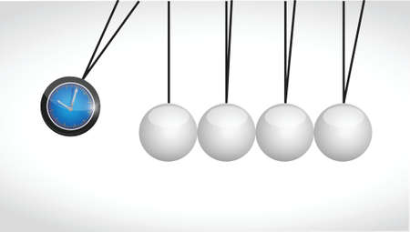 pendulum: watch and spheres illustration design over a white background