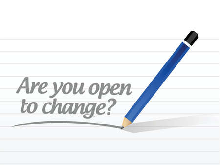 are you open to change question illustration design over a white background