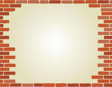 白い背景の上のレンガ壁ボーダー イラスト デザイン