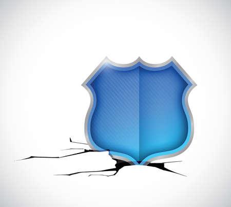 shield inside a hole. illustration design over a white background Illustration