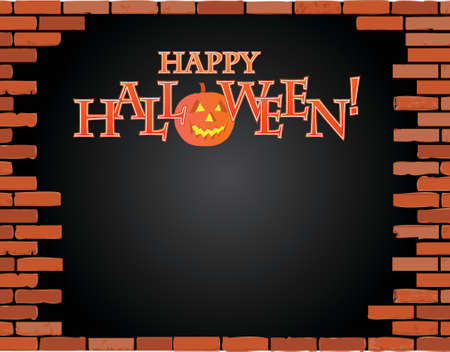 cracked concrete: happy halloween brick wall illustration design over a black background