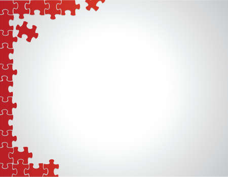 briefing: red puzzle borders illustration design over a white background Illustration