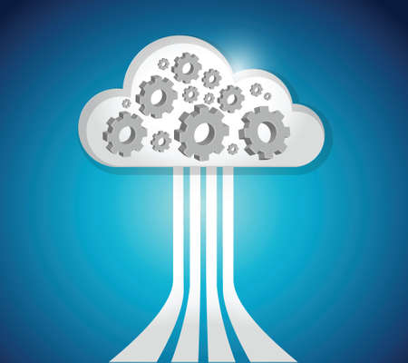 functions: industrial cloud computing connections illustration design over a blue background